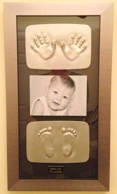 stunning baby hand and feet impression with photo gorgeous keepsake to look back on in years to come.....