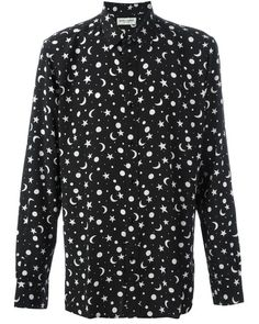 dae89a9a3b0 Saint Laurent | Black Star And Moon Print Shirt for Men | Lyst Yves Saint  Laurent