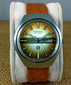 2dedfb72c Rare-find-NOS-Citizen-Automatic-watch-dual-tone-brown-dial-cal-6501-vintage