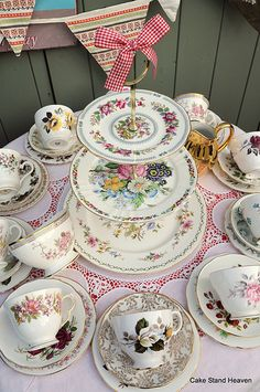 Mismatched Vintage Tea Set and Cake Stand