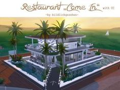 Come in restaurant by Bildlichgesehen at Akisima via Sims 4 Updates Sims 4 Restaurant, Modern Restaurant, Sims 4 Loft, Sims 3, Sims Building, Building A House, Sims 4 House Design, Sims House Plans, Casas The Sims 4