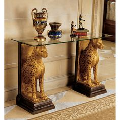 Royal Egyptian Cheetahs Sculptural Glass-Topped Console - $499