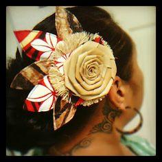 Siapo & floral print hair piece