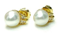 lovely!  Estate 18k yellow Gold South Sea Baroque Pearl - 11.5-11.9mm & Diamond earrings