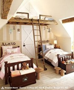 Colorful Kids Bedroom Designs Collection by Pottery Barn Kids: Pottery Barn Kids Bedroom Design Kendall Collection ~ OHomeDesign Kids Room Inspiration Boy And Girl Shared Room, Boy Girl Room, Shared Rooms, Child Room, 2 Girl, Home Goods Decor, Home Decor, My New Room, Girls Bedroom