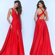 Find More Evening Dresses Information about Vimans Sexy Deep Low V Neck A line Red Evening Dresses 2016 vestito da sera Open Back Long Front Split Prom Party Dress CD067,High Quality dress colors,China dresses plus size women Suppliers, Cheap dresses corset from Viman's Bridal on Aliexpress.com