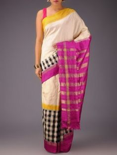Cream-Fuschia-Yellow-Black Checks Pochampally Ikat Silk Saree