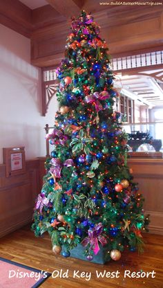 Christmas Tree at Disney's Old Key West Resort at Disney World.   For information about Disney World in December (Crowd levels, special events, & ride closures) , see: http://www.buildabettermousetrip.com/wdw-december-crowds-closures-special-events/ #december  #DisneyWorld