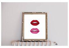 bold lips red pink digital print jpg 8x10 A4 A3 home decor   www.studiosalvestrini.etsy.com