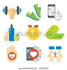 Flat icon set about sport & health care