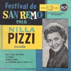 En af de utallige versioner af Volare. Nilla Pizzi var kendt for sine mange San Remo-sange. Læg lige mærke til det pæne cover-design.