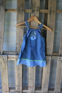 Vintage Denim Jumper Dress with Puppy Dog by Sweet by vintapod