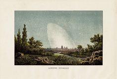1891 Antique ASTRONOMY print ZODIACAL LIGHTS by TwoCatsAntiquePrints, $27.00