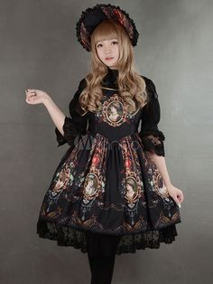 Multicolor Synthetic Lolita Dress With Character Print for Women - Milanoo.com