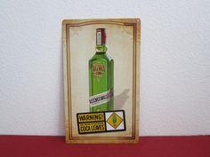 """AGWA De Bolivia  liqueur sign alcohol   """" WARNING! COCA LEAVES!! """""""