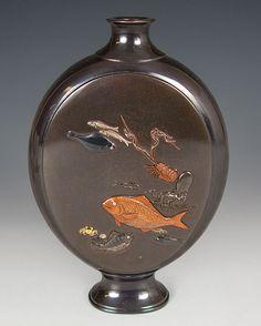 A Japanes Shakudo Oval Flask - Hattori Seal - Meiji Period