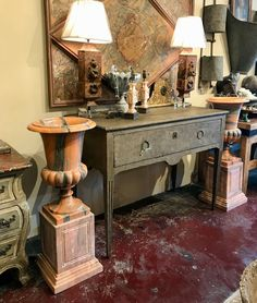 """Pair of Marble Urns On Plinths  13.5"""" Square x 41"""" High   $3400 Pair   Clutter Antiques 5015 Lovers Lane Dallas, TX 75209"""