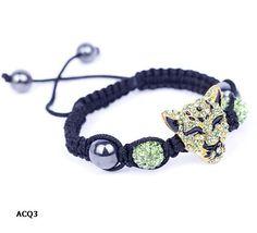 Green Leopard Rhinestone Crystal Disco Ball Beaded Charm Bracelet Bangle