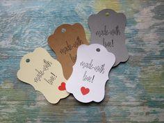 Étiquettes à bijoux, étiquettes à vêtements «Made With Love» de la boutique Lamainalacarte sur Etsy