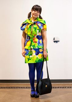 """Mai, 29    """"I made my dress in a couple of hours out of old Marimekko kitchen towels. I wanted to wear something new and fancy for Marimekko AW10 show. My shoes are by Hanna Sarén.  Vintage Marimekko inspires me.""""  25 March 2010, Aalto University School of Art and Design"""