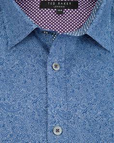 YEARGUD   Paisley print shirt - Navy   Shirts   Ted Baker