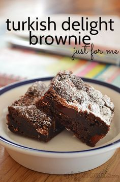 Turkish Delight Brownies - a treat for all the Turkish dleight lovers... and a good no fuss easy brownie recipe for those who are not fans.