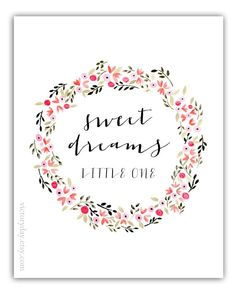 sweet dreams little one - print of watercolor wreath painting in vibrant + delicate pastels flowers.