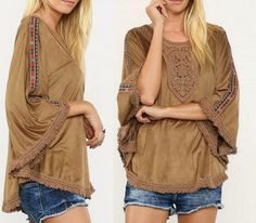 FLYING TOMATO Suede Poncho Top Fringe Crochet Embroidered Bell Sleeve Tunic S-L #FlyingTomato #Poncho #Casual