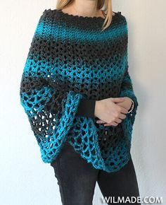 Wilmade: Perfect Gift Poncho - free crochet pattern by Wilma Westenberg patterns free beginner Poncho crochet pattern - free crochet pattern by Wilmade Crochet Scarves, Crochet Clothes, Knit Crochet, Easy Crochet Shawl, Crochet Wraps, Crochet Sweaters, Knitted Shawls, Crochet Pattern Free, Tutorial Crochet