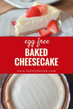 Baked Egg Free Cheesecake | Safely Delish Eggless Desserts, Eggless Recipes, Eggless Baking, Desserts To Make, Healthy Desserts, Mug Cakes, Baked Cheesecake Recipe, No Bake Cheesecake, Chia Pudding