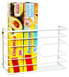 DecoBros Wall Door Mount Kitchen Wrap Organizer Rack, White Deco Brothers http://smile.amazon.com/dp/B00U86KJG6/ref=cm_sw_r_pi_dp_YFH7wb0Y2CQE8