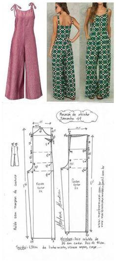 Fashion Sewing, Diy Fashion, Ideias Fashion, Fashion Outfits, Dress Sewing Patterns, Sewing Patterns Free, Clothing Patterns, Crochet Patterns, Diy Clothing
