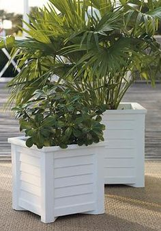Bring new life to your porch or patio with the Lakeland Square Planter while proudly displaying your favorite foliage or flowers; available in white or black.