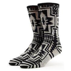 Stance Girls Santiago Black & Grey Native Print Crew Socks at Zumiez : PDP