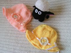 Baby Summer Hats Size 3-6 months in natural Yellow or Salmon Yarn available to buy at Ewe2u on Etsy.com