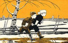 Seuraava kuva >> Children's Book Illustration, Graphic Design Illustration, Art Illustrations, Vintage Book Art, Frosty The Snowmen, Make Pictures, Children's Literature, Winter Theme, Retro