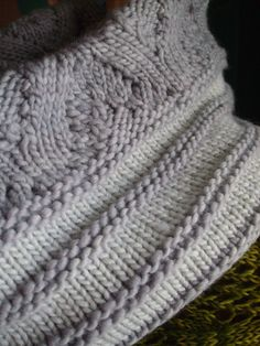 Cracked Pepper Cowls by Phyll Lagerman. malabrigo Worsted in Pigeon and Polar Morn colorways