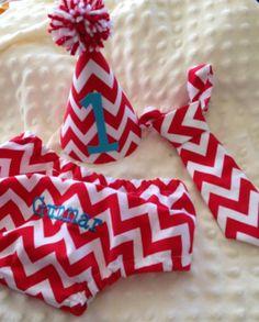 Boys Cake Smash Set - Red Chevron - Diaper Cover, Velcro Tie & Birthday Hat - Birthday Outfit