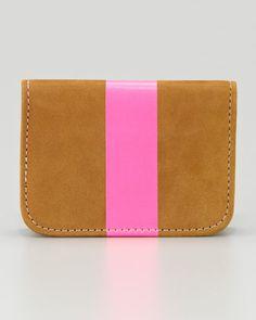 Clare Vivier | Leather Card Case, Caramel/Neon Pink - CUSP
