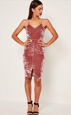 Beautiful rose velvet dress, pencil skirt style.