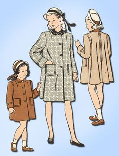 1940s Vintage Butterick Sewing Pattern 4261 Toddler Girls Flared Coat Size 6 #Butterick #CoatPattern