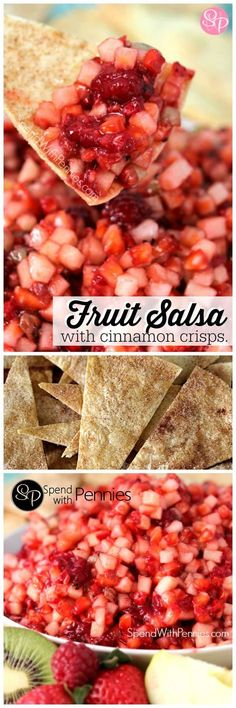 One of my favorite recipes! Easy and amazing, fresh fruit salsa with cinnamon crisps recipe. This homemade fruit salsa is so easy and very delicious! It will be the hit of any party!