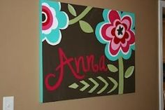 This lady just painted this on Canvas to match a little girl's bedding. Love the colors! There are lots of other ideas on painting canvas. by herland
