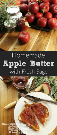 Apple Butter is a great way to preserve apples for the winter.A rich creamy spread, great on fresh bread or used on cheese platters and desserts as garnish. Free, and friendly (just omit the sugar)! Apple Desserts, Apple Recipes, Fun Desserts, Holiday Recipes, Chutney, Homemade Apple Butter, Sage Butter, Saag, Fresh Bread