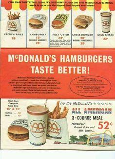 McDonald's fast food i remember Michigan Vintage Menu, Photo Vintage, Vintage Ads, Vintage Posters, Vintage Food, Retro Food, 1960s Food, Vintage Signs, Old Advertisements