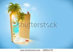 Opened door to the tropical paradise. Travel Background