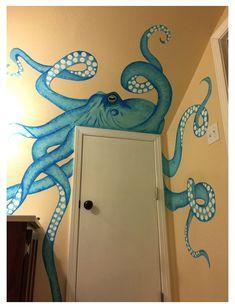 Shark Painting, Octopus Painting, Octopus Wall Art, Mural Painting, Diy Painting, Paintings, Sea Murals, Ocean Mural, Beach Wall Murals
