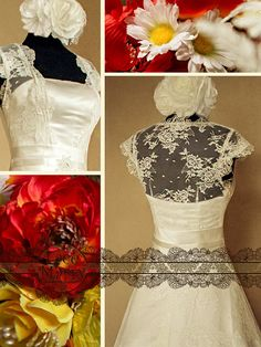 Vintage Inspired Lace Wedding Dress Features Cap Sleeves Full Lace Covered Back and Ribbon on the Waistline by LaceMarry, $299.00
