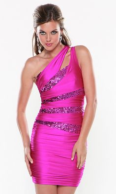sexy ATRIA one shoulder cocktail dress in fuchsia/beaded detail <3