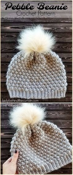 Crochet Hats Patterns Crochet Pebble Beanie Hat Free Pattern - Crochet Beanie Hat Free Patterns - DIY Crochet Beanie Hat Free Patterns (Baby Hat Spring Hat Winter Hat), adjust the color and size for different ages and sex. Crochet Beanie Hat Free Pattern, Bonnet Crochet, Crochet Diy, Knit Or Crochet, Crochet Crafts, Crochet Hooks, Crochet Projects, Crochet Ideas, Knitting Patterns